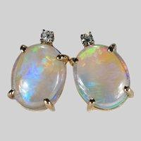 Large Natural Opal Diamond Studs 14k 3.34ctw Jelly Opal Pierced Stud Post Earrings
