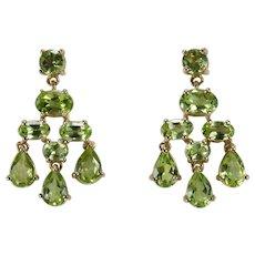 Genuine Peridot Dangle Earrings 6.64ctw 10k Gold Pierced Drop