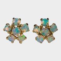 Natural Opal Flower Stud Earrings 14k Gold Pierced Post Studs