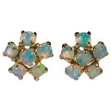 Natural Opal Flower Stud Earrings 14k Gold Pierced Post Studs
