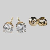 1ctw Natural Diamond Stud Earrings 14k Gold Screw Back Pierced Post Solitaire Diamond Studs