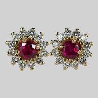 Ruby Diamond Halo Studs 1.72ctw 14k Mixed Gemstone Pierced Post Stud Earrings