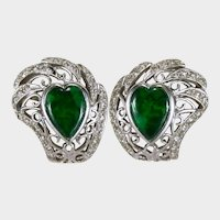 Vintage Jade Diamond Heart Earrings 14k Gold Foil Backed Natural Burma Maw Sit Sit Jade Hearts