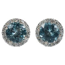 Natural Aquamarine Diamond Halo Stud Earrings 14k Pierced Post Studs