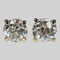 Solitaire Old European Cut Diamond Studs .85ctw 14k Gold Diamond Stud Earrings