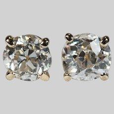 Solitaire Old European Cut Diamond Studs .85ctw 14k Gold Diamond Stud Earrings
