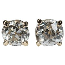 Solitaire Old European Cut Diamond Studs .85ctw 14k Gold Old Mine Cut Diamond Stud Earrings