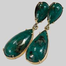 Natural Emerald With Pyrite Earrings 90ctw 18k Gold Pierced Dangle Emerald Earrings