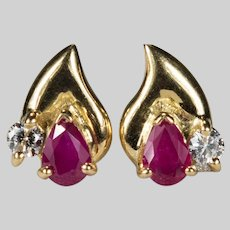 Ruby Diamond Studs 18k Gold Mixed Gemstone Pierced Post Stud Earrings