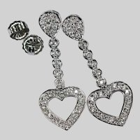 2ctw Diamond Heart Earrings 14k White Gold Pierced Post Dangle