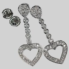 2ctw Diamond Heart Earrings 14k White Gold Pierced Post Dangle