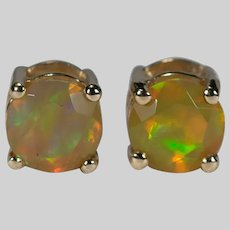 Vibrant Yellow Fire Opal Stud Earrings 10k Gold Solitaire Natural Opal Studs