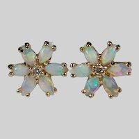 Natural Opal Diamond Studs 14k Pierced Opal Flower Stud Earrings