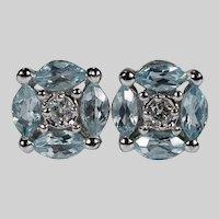 Aquamarine Diamond Studs 14k Alwand Vahan Pierced Post Stud Earrings