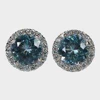 Natural Aquamarine Diamond Halo Stud Earrings 14k Pierced Post Studs