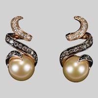 Levian Pearl Diamond Earrings 14k Gold Pierced Post