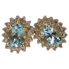 Aquamarine Diamond Halo Stud Earrings 1.85ctw 14k Pierced Post Studs