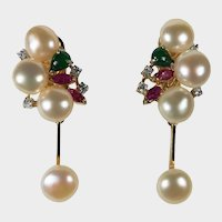 Baroque Button Pearl Emerald Ruby Diamond Earrings 14k Gold Dangle