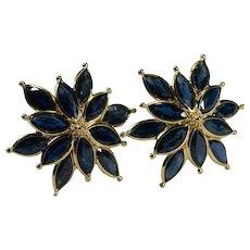 Sapphire Flower Stud Earrings 3.50ctw 14k Gold Pierced Post Studs