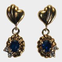 Genuine Sapphire Diamond Dangle Earrings 18k Gold