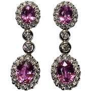 Pink Sapphire Diamond Dangle Earrings 18k White Gold