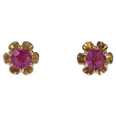 Ruby Buttercup Studs 14k Gold Pierced Post Stud Earrings