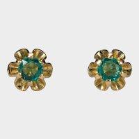 Emerald Buttercup Studs 14k Pierced Post Stud Earrings