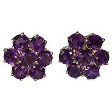 Amethyst Earrings 10k Gold Flower Cluster Pierced Studs
