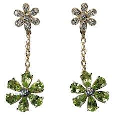 Peridot Diamond Flower Earrings 10k Gold Mixed Gemstone Dangles