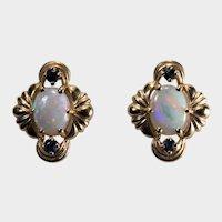 Franklin Mint Natural Opal Sapphire Stud Earrings 14k FM Pierced Post Studs