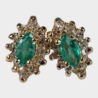 Marquise Emerald Diamond Earrings 14k Gold Navette Pierced Studs