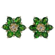 Russian Chrome Diopside Diamond Stud Earrings 14k Gold Pierced Post Studs
