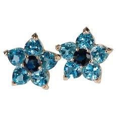 Large Sapphire Topaz Hearts Stud Earrings 14k Gold Pierced Post Blue Flower Studs