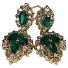 Natural Emerald Diamond Earrings 14k Gold Designer Pierced Dangles