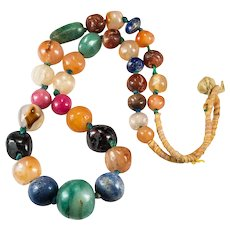 Antique Chinese Hand Carved Bead Jade Lapis Carnelian Agate Amethyst Beaded Necklace