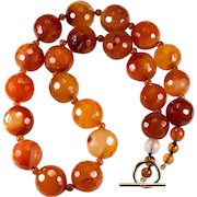 Natural Carnelian Necklace 14k Gold Bead Beaded Faceted Carnelian Agate Necklace