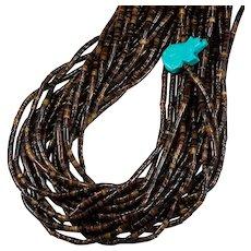 Natural Turquoise Bear Fetish Black Heishi Shell Beaded Strand Necklace
