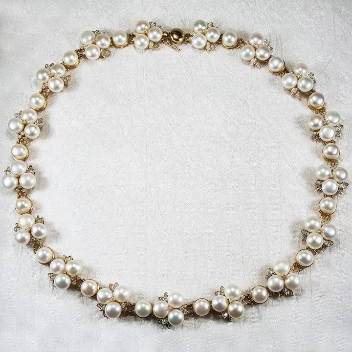 in necklace mikimoto diamond white lyst jewelry gold pearl