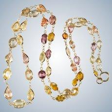 Mixed Sapphire Bezel Set Gemstone Chain 750 18k Gold Natural Corundum Sapphire Necklace