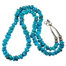 """Navajo Kingman Turquoise Sterling 24"""" Strand Signed Native American Turquoise Necklace"""