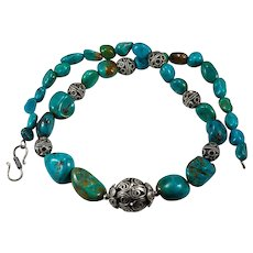 Natural Nugget Turquoise Sterling Silver Beaded Strand Hand Crafted Turquoise Necklace
