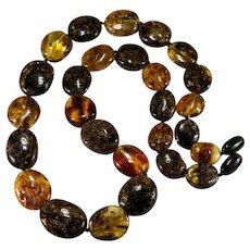 Semi-Rough Natural Amber Mixed Bead Necklace