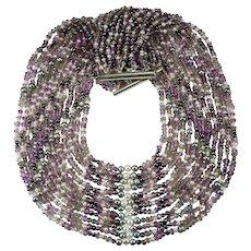 Mixed Gemstone Necklace M & J Savitt Amethyst Labradorite Pearl 12 Strand Necklace