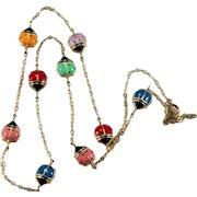 Multi Color Enamel Ladybug Necklace 10k Gold Chain