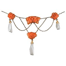 Antique Carved Coral Roses Pearl Necklace 14k Gold Coral Festoon Necklace