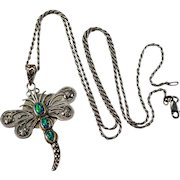 Opal Dragonfly Pendant 925 Sterling Silver Rope Chain Lab Opal Necklace