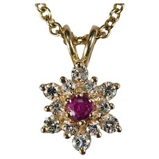 Ruby Diamond Snowflake Pendant Necklace 14k 585 Link Chain Diamond Ruby Necklace
