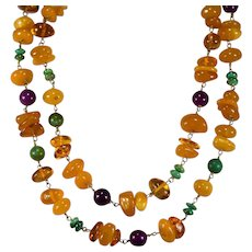 "Opera Length Amber Necklace 14k Gold 40"" Natural Egg Yolk Butterscotch Baltic Amber Turquoise Sugalite Necklace"