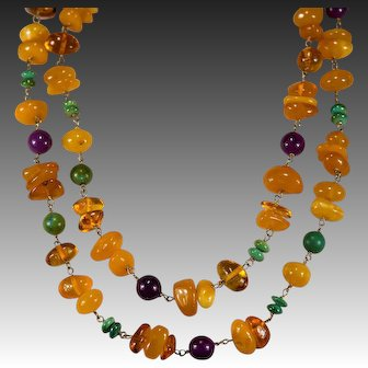 """Opera Length 40"""" Amber Necklace 14k Gold Natural Egg Yolk Butterscotch Baltic Amber Turquoise Sugalite Necklace"""