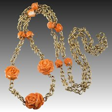 Natural Carved Coral Rose Chain 14K Gold Link Chain Coral Necklace